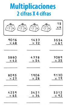 Multiplicaciones de varias cifras - Matematicas para niños