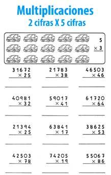 Multiplicaciones De Varias Cifras Matematicas Para Niños